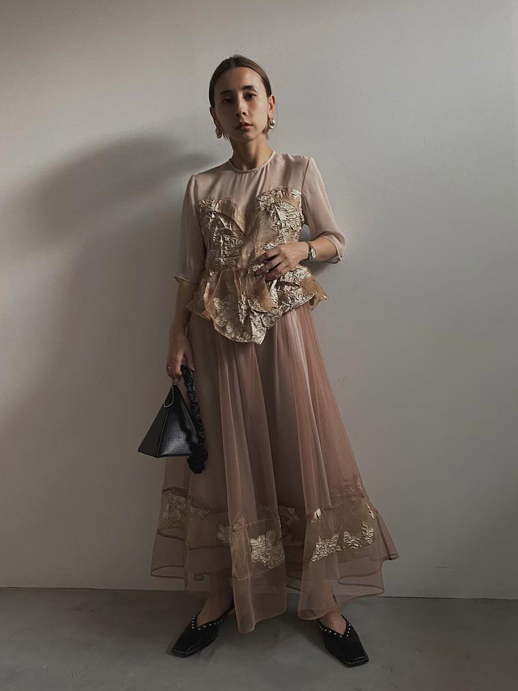 nao_JACQUARD LAYERED TULLE DRESS