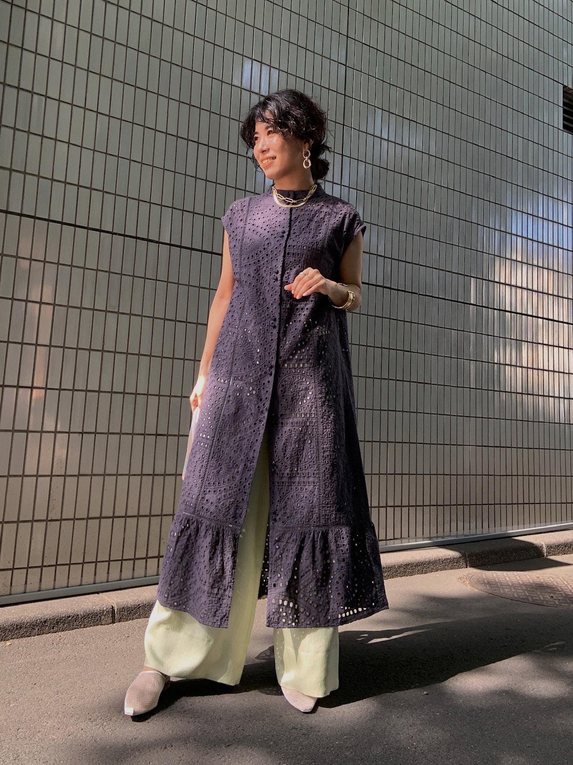 yuki_EYELET LACE SHIRT DRESS