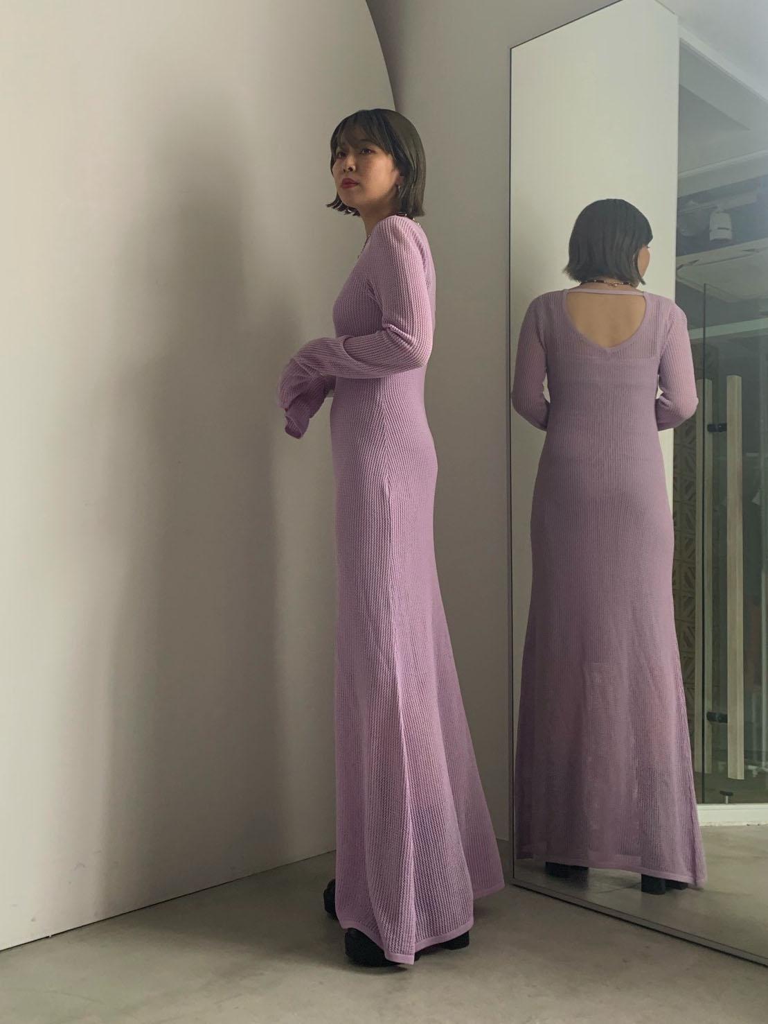 reisa_BACK OPEN MESH DRESS