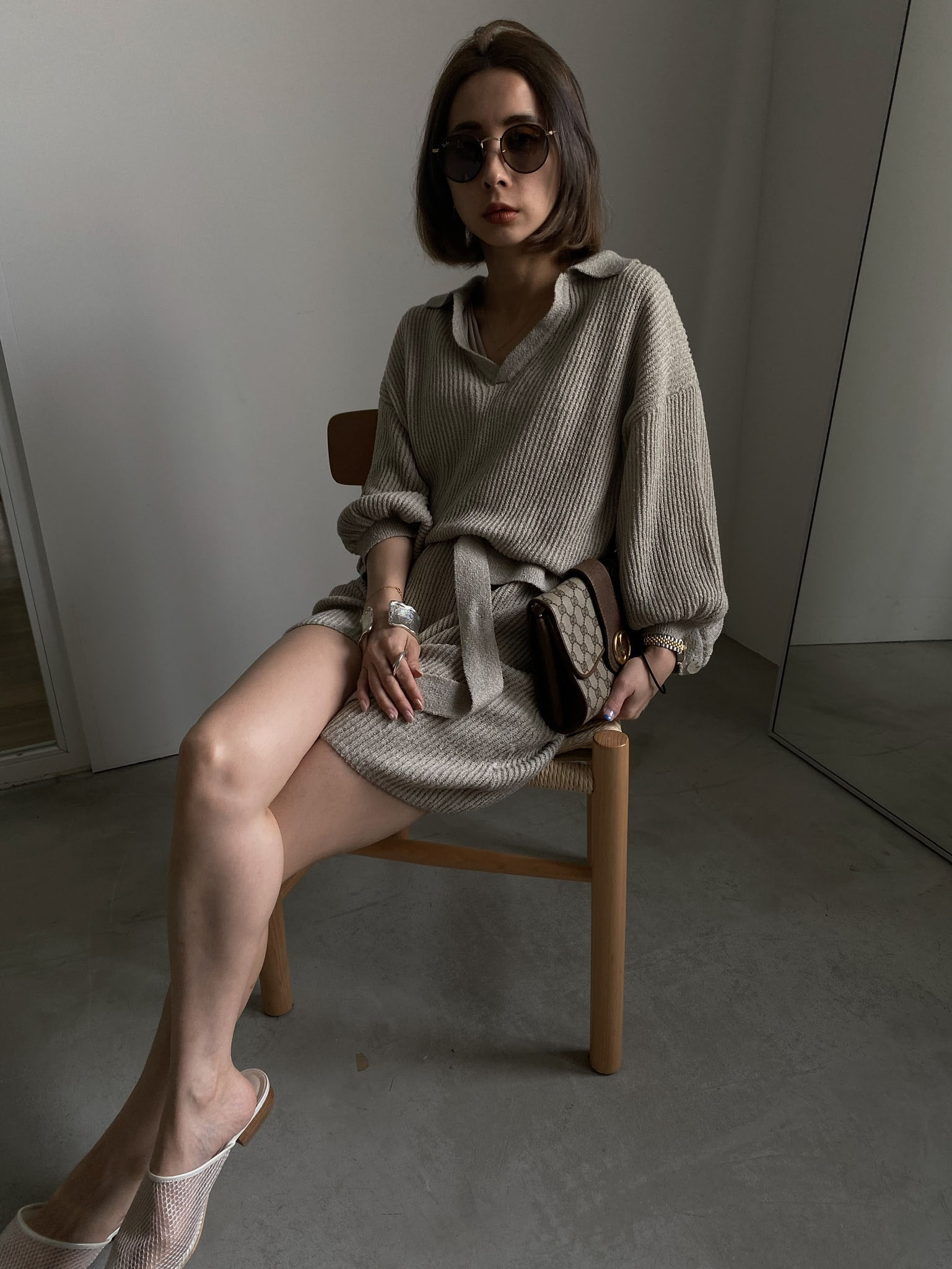 nao_MEDI OPEN COLLAR KNIT ALL IN ONE