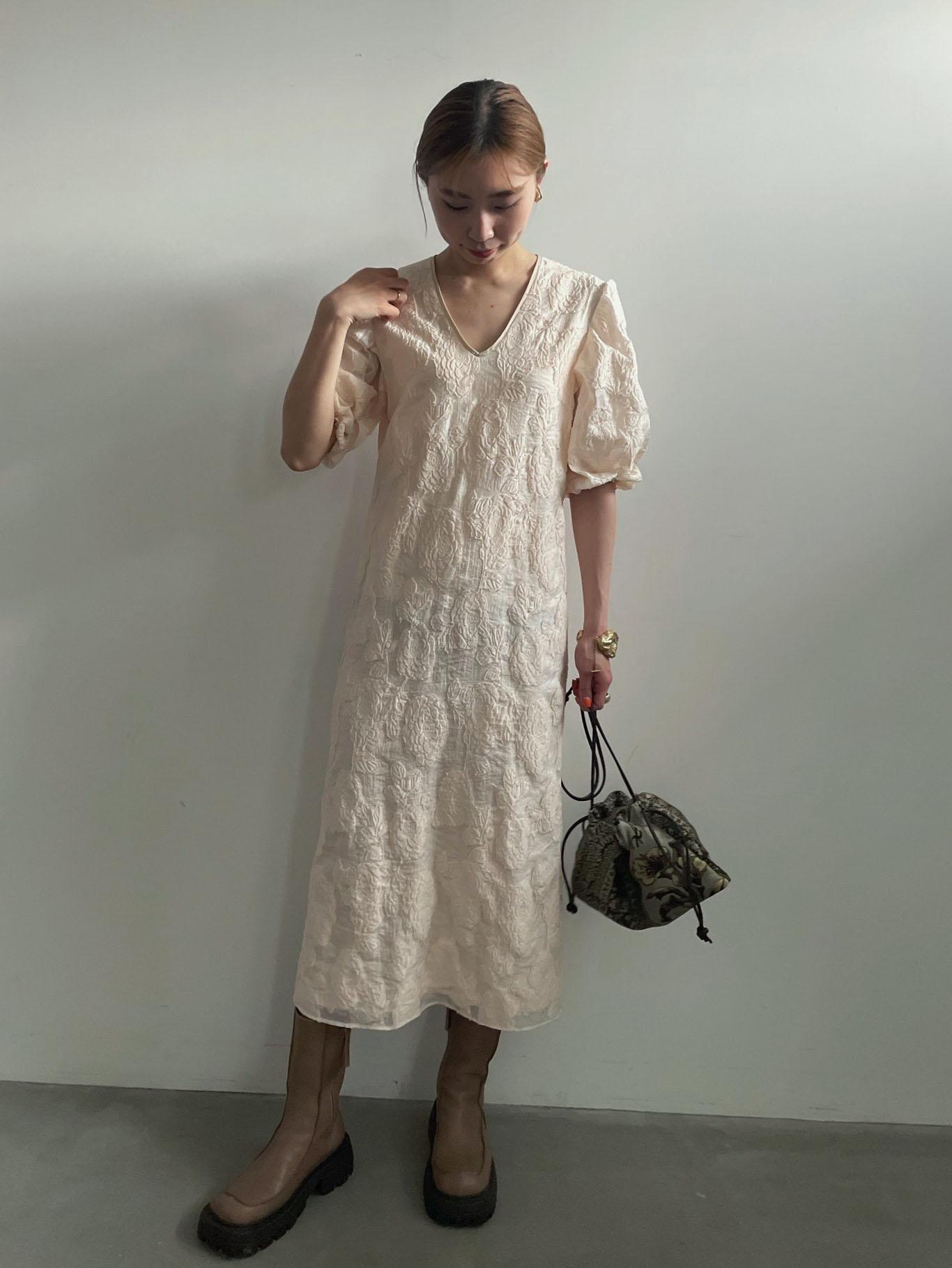 kaori_FLOWER JACQUARD STRAIGHT DRESS