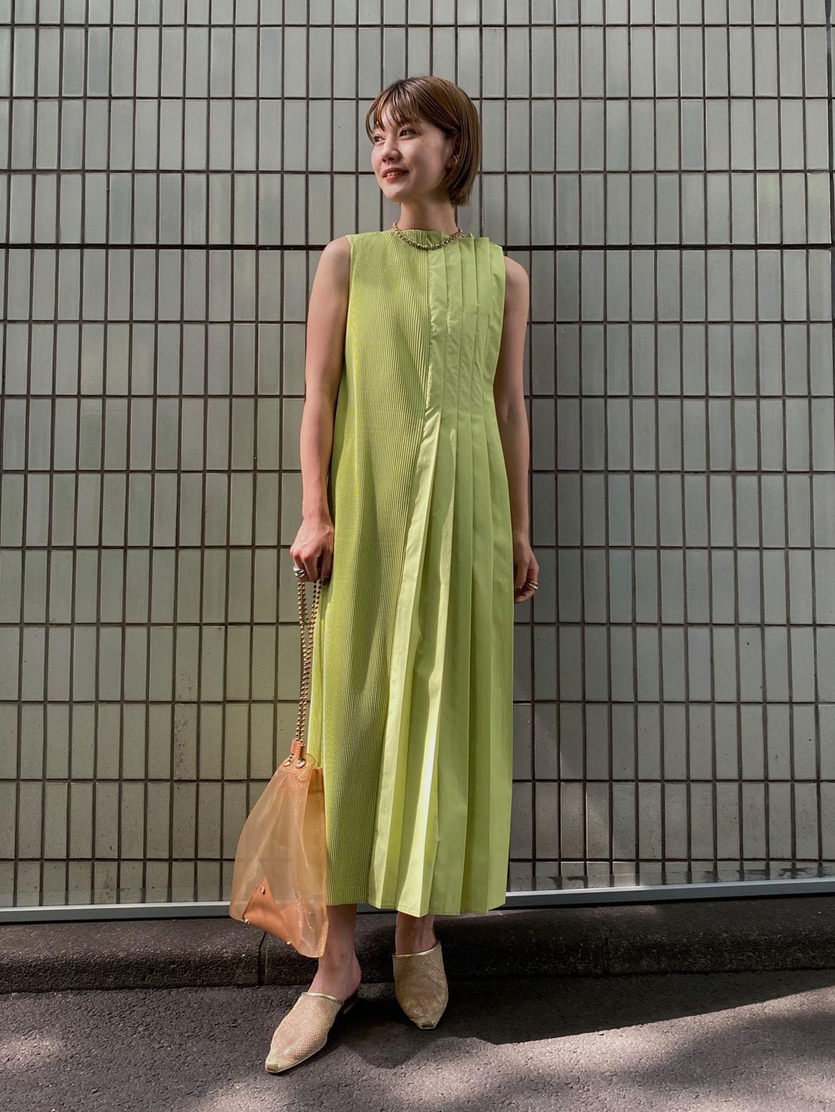 suzu_2WAY MIX PLEATED DRESS