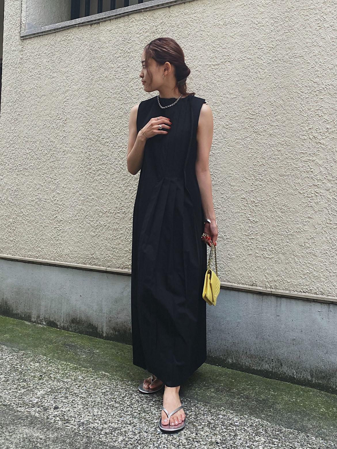 akane_2WAY MIX PLEATED DRESS