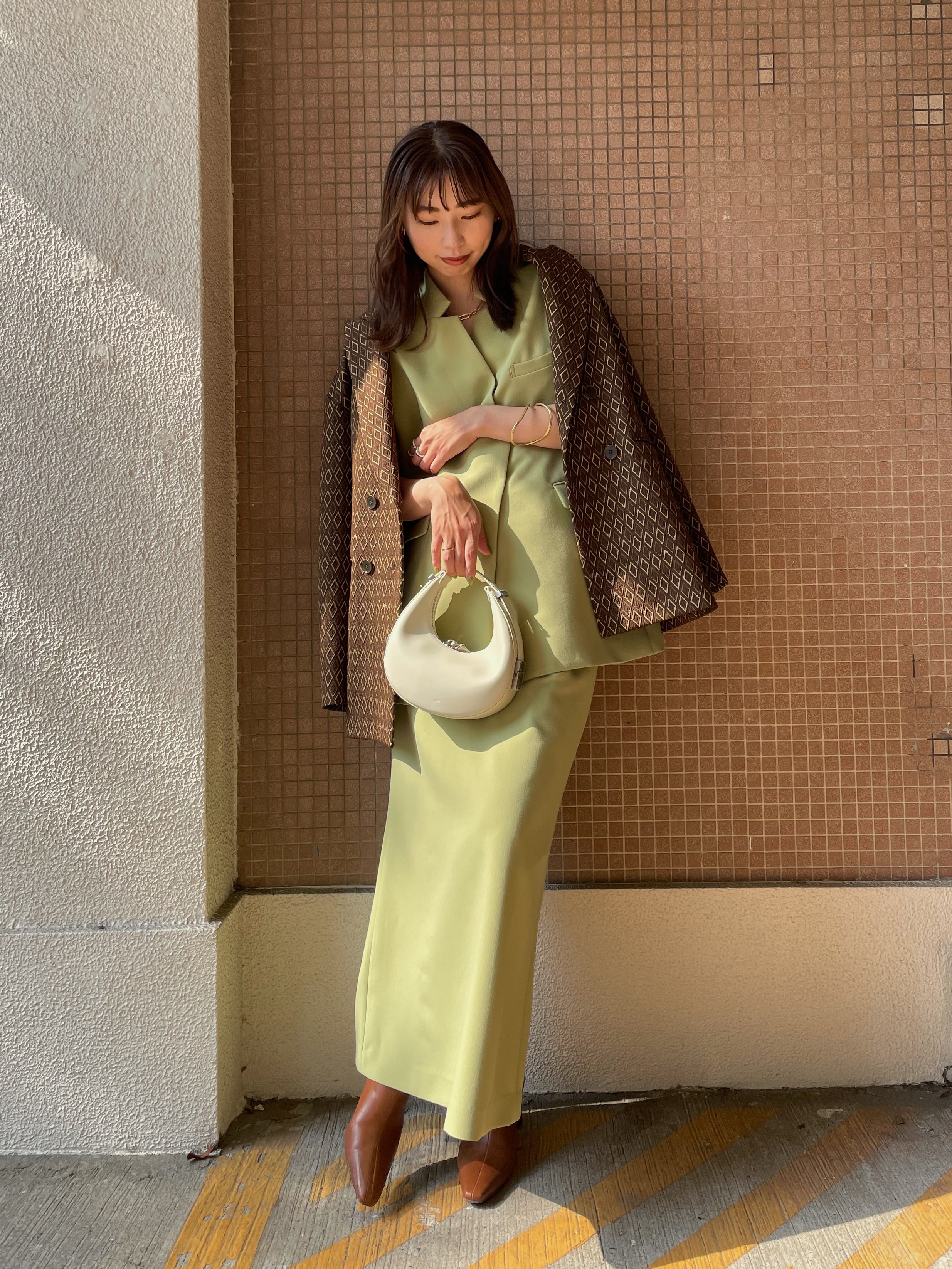 kaori_OTONA WRAP VEST SET UP DRESS