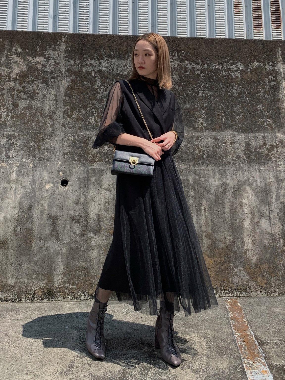 mai_TAILORED VEST SET SHEER DRESS
