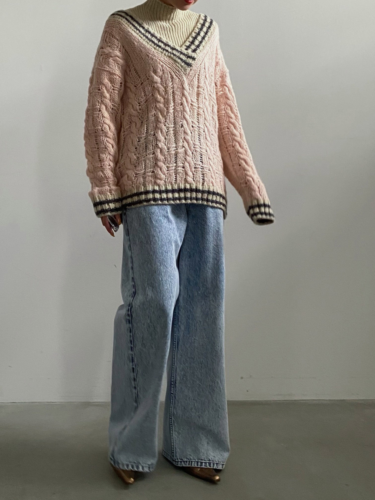 yuko_SOFT CABLE TILDEN KNIT TOP