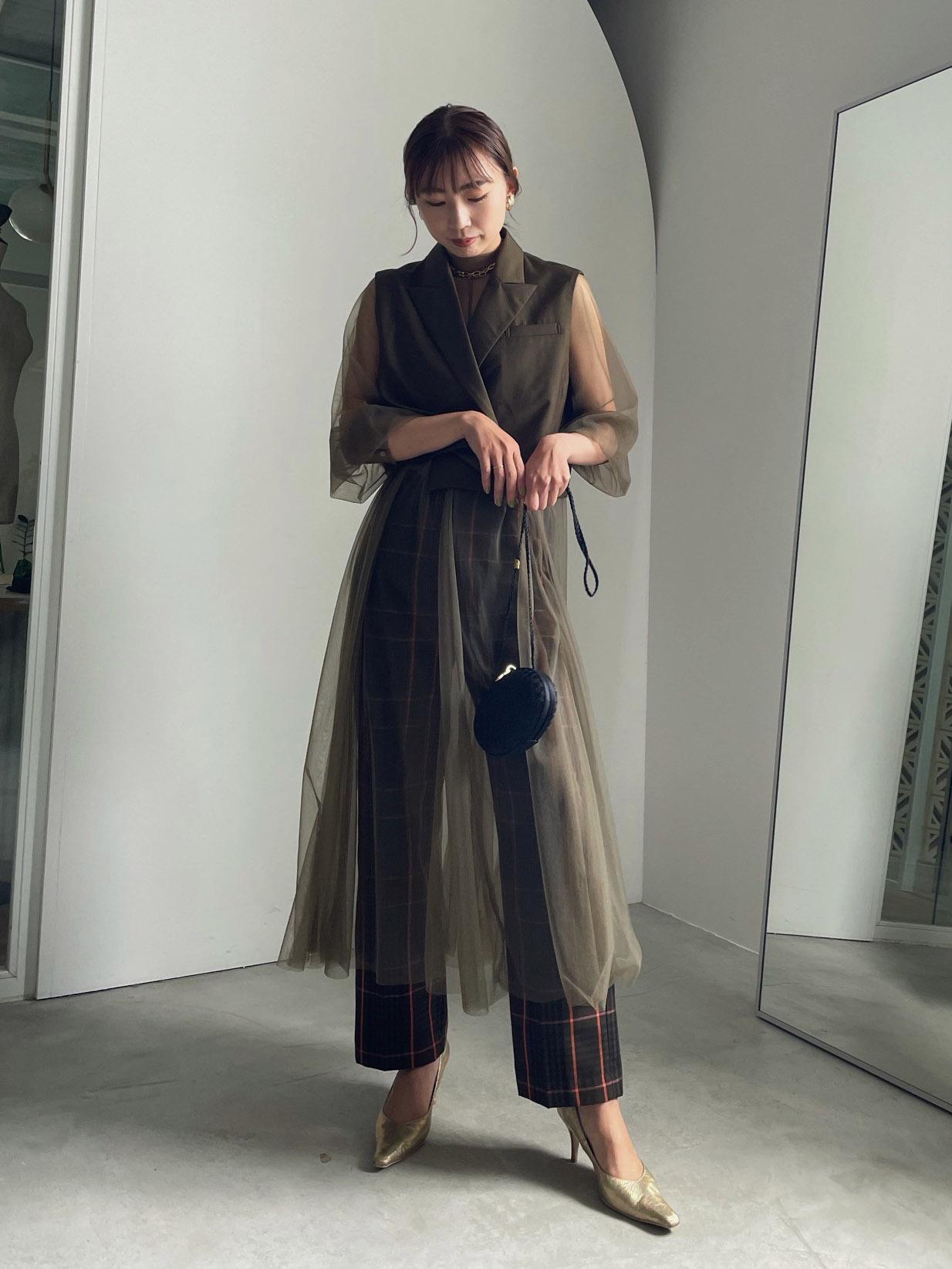 kaori_TAILORED VEST SET SHEER DRESS