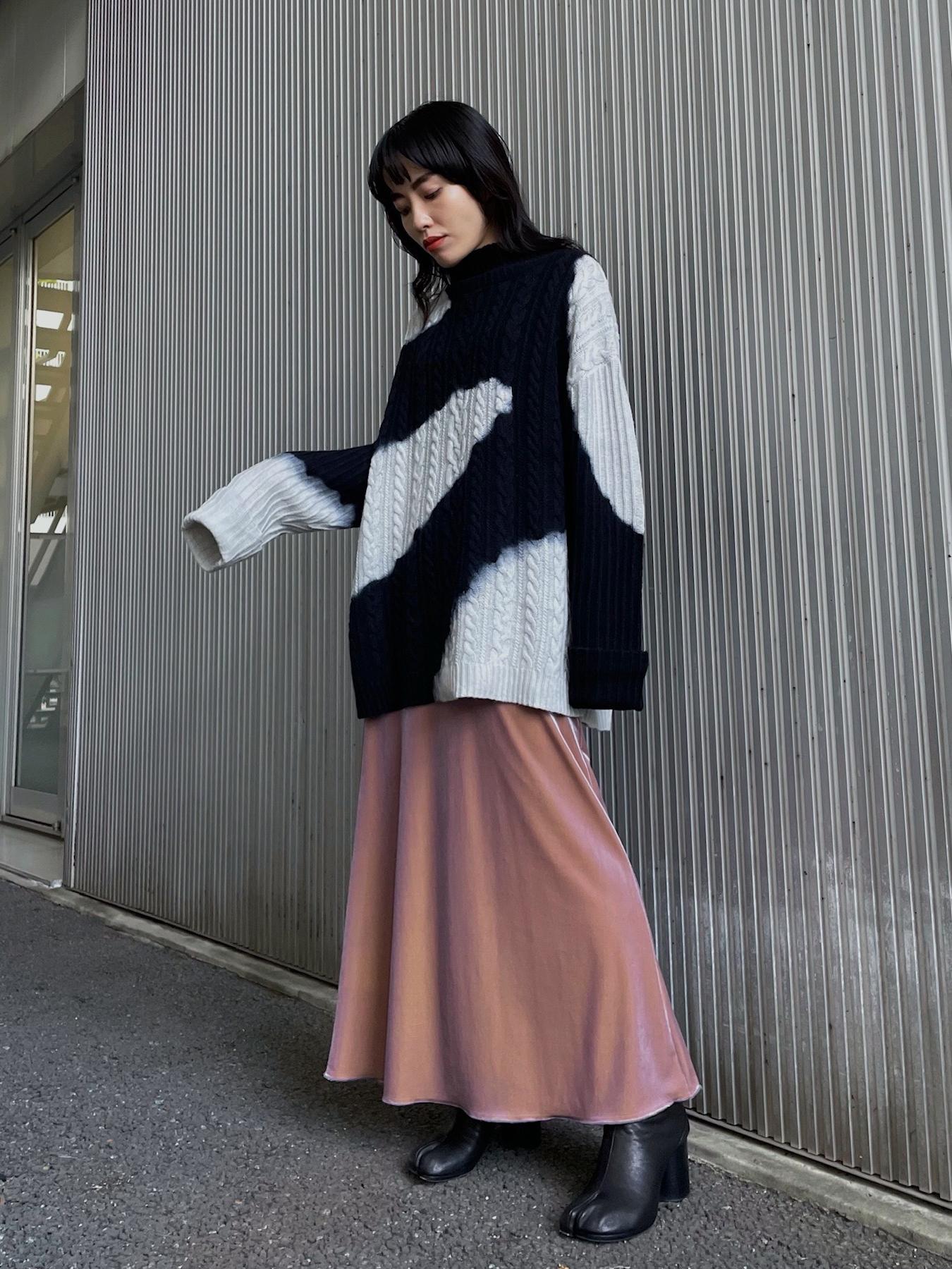 shiori_CHAMBRAY VELOUR SKIRT
