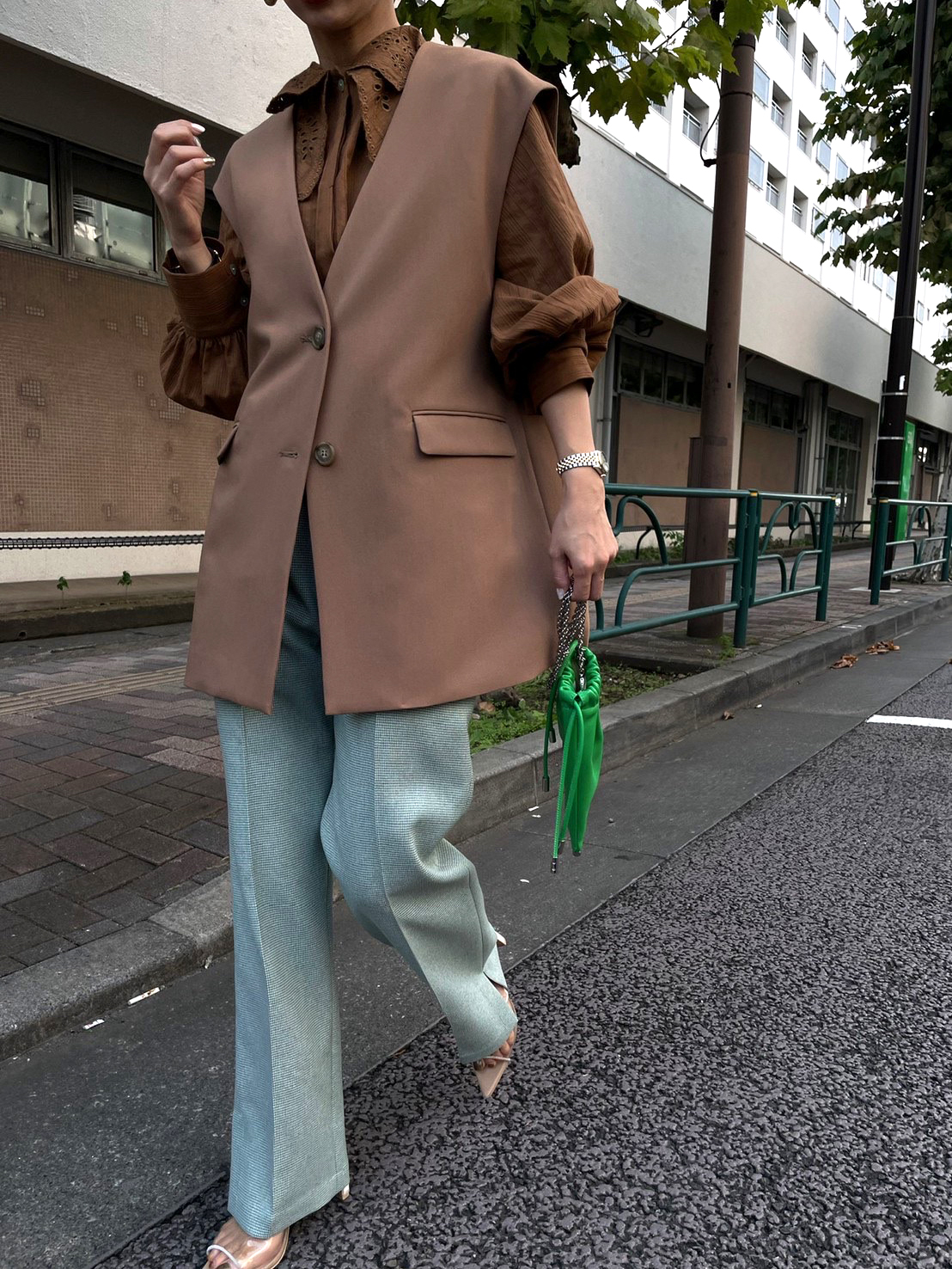 nao_2WAY LADY BLOUSE WITH VEST