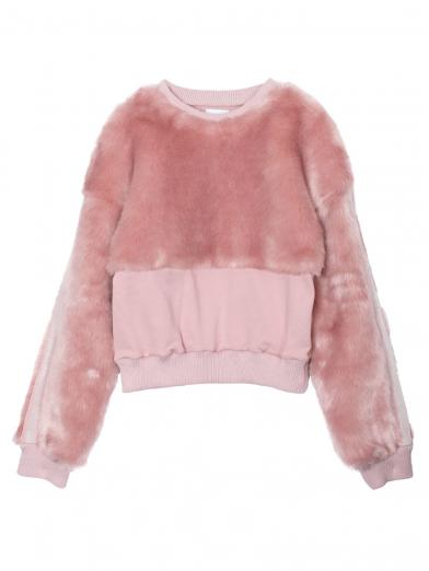 COLOR ECO FUR SWEAT TOP