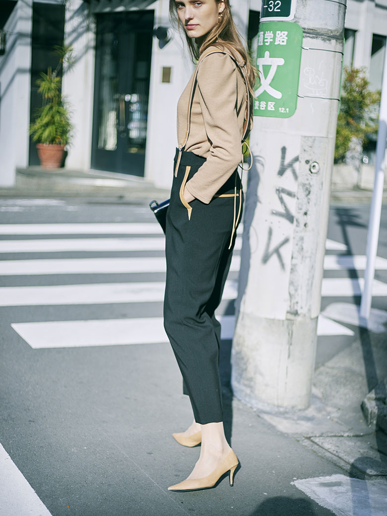LEATHER SUSPENDER PANTS
