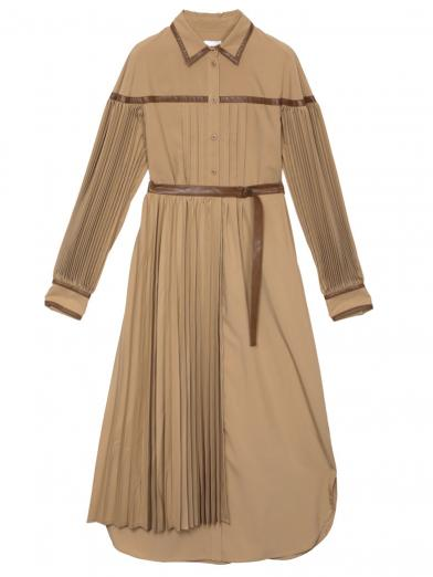 PLEATS BELT LAYERED DRESS