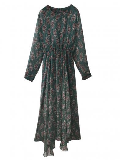 PAISLEY SHIRRING DRESS