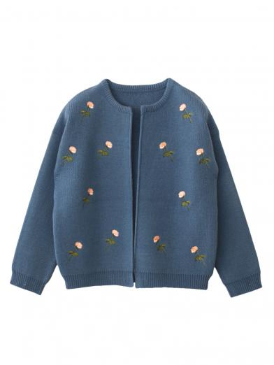 FLOWER EMBROIDERY JACKET KNIT