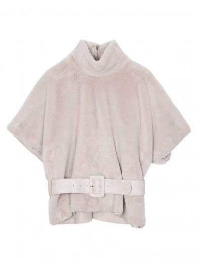 ECO FUR BELTED TOP