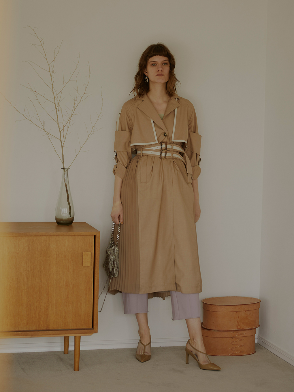 ROLL-UP SLEEVE PLEATS TRENCH COAT