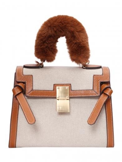 FUR HANDLE 2WAY  BAG
