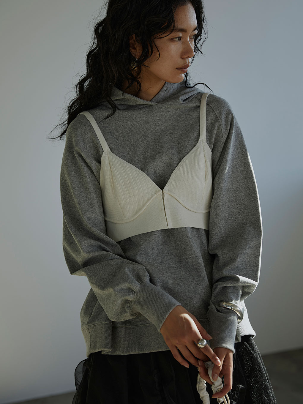 LAYERED BUSTIER HOODIE