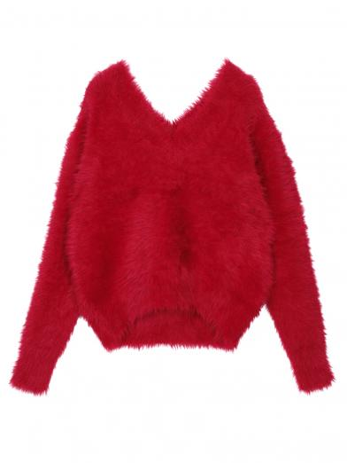 V NECK SHAGGY KNIT