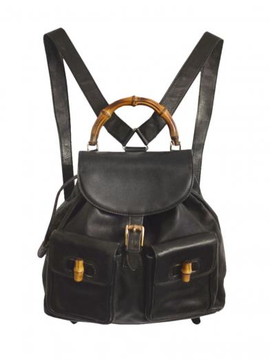 GUCCI BAMBOO LEATHER RUCKSUCK BLK
