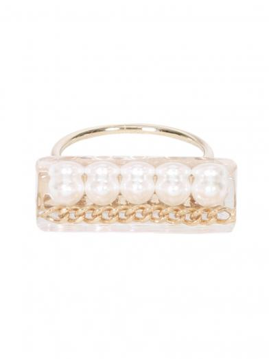 SQUARE PEARL CHAIN RING