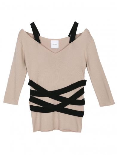 BANDAGE V NECK RIB KNIT