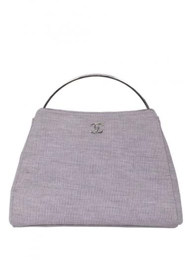 CHANEL SILVER HANDLE CANVAS BAG