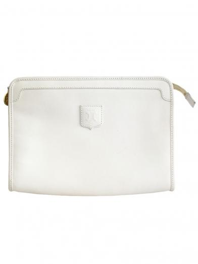CELINE LOGO LEATHER CLUTCH BAG