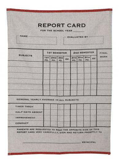 FISHS EDDY REPORT CARD DISH TOWEL