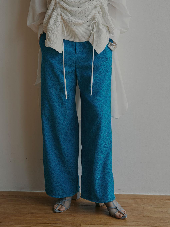 LEAF JACQUARD STRAIGHT PANTS