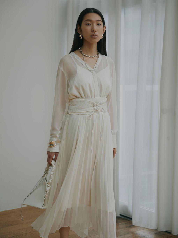 CLAIRE JACQUARD PLEATS DRESS