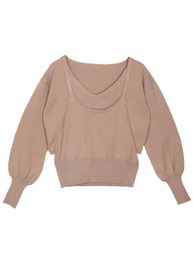 SIDE OPEN LAYEARD KNIT