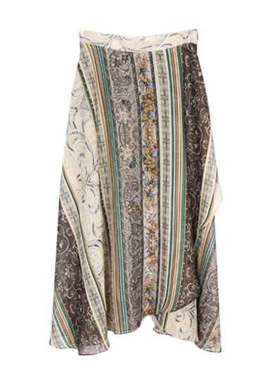 ETHNIC FLOWER IRREGULAR HEM SKIRT