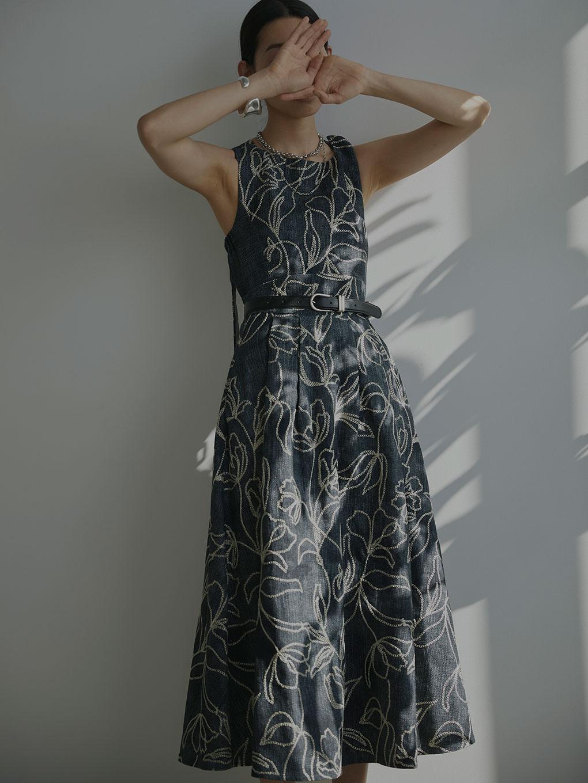 DENIM LIKE FLOWER DRESS
