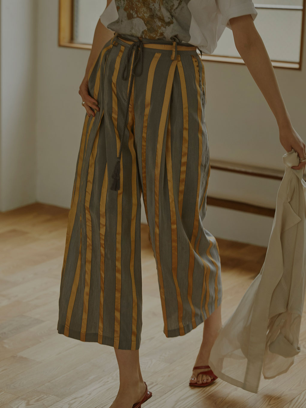 STRIPE STUDS WIDE PANTS