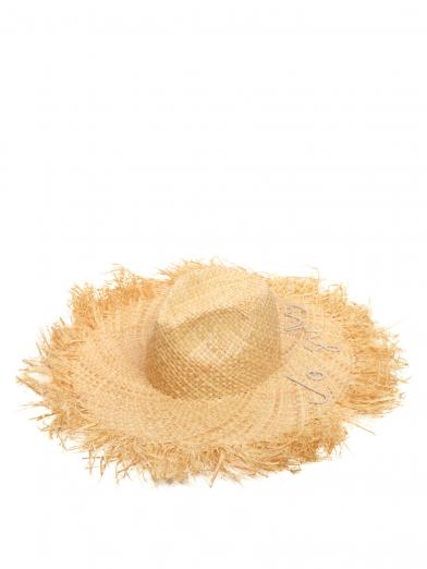 MEDI CORD EMBROIDERY RAFFIA HAT