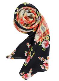 FLOWER CHECK SCARF