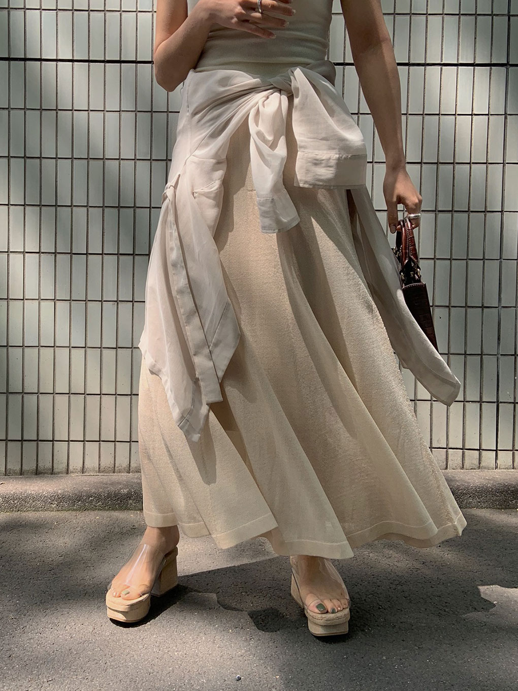 WAVE SHEER KNIT SKIRT