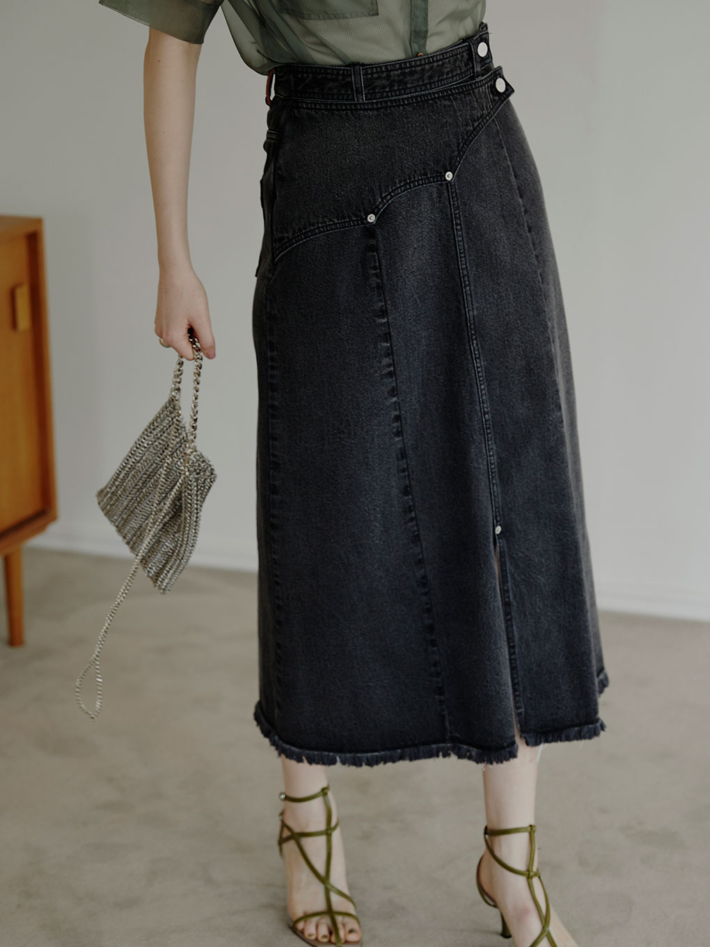 WESTERN FLAP DENIM SKIRT