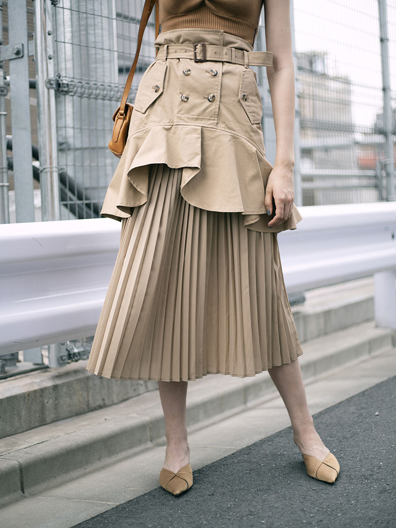 TRENCH PLEATS SKIRT
