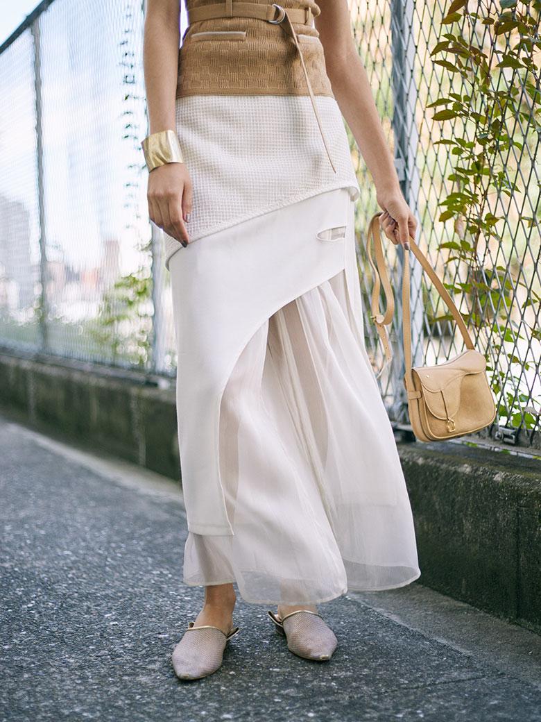 MEDI ROUGH CLOTH LAYERED PANTS