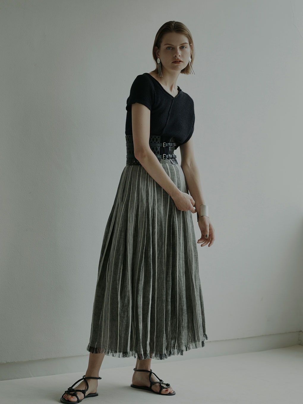 LINEN STRIPE SKIRT