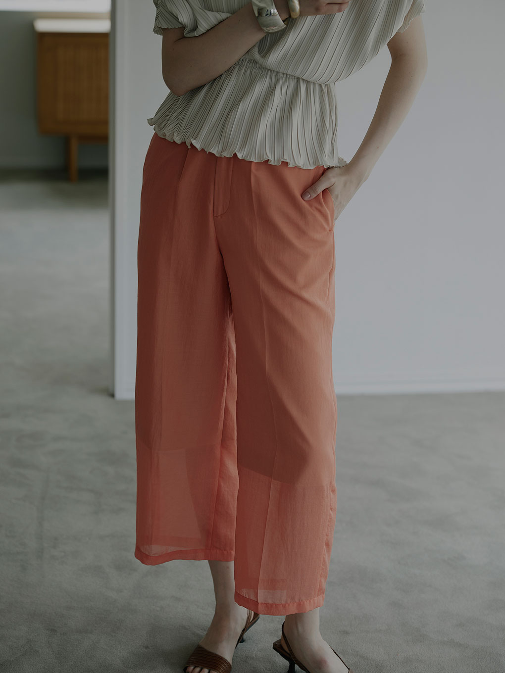 SHEER TAPERED PANTS