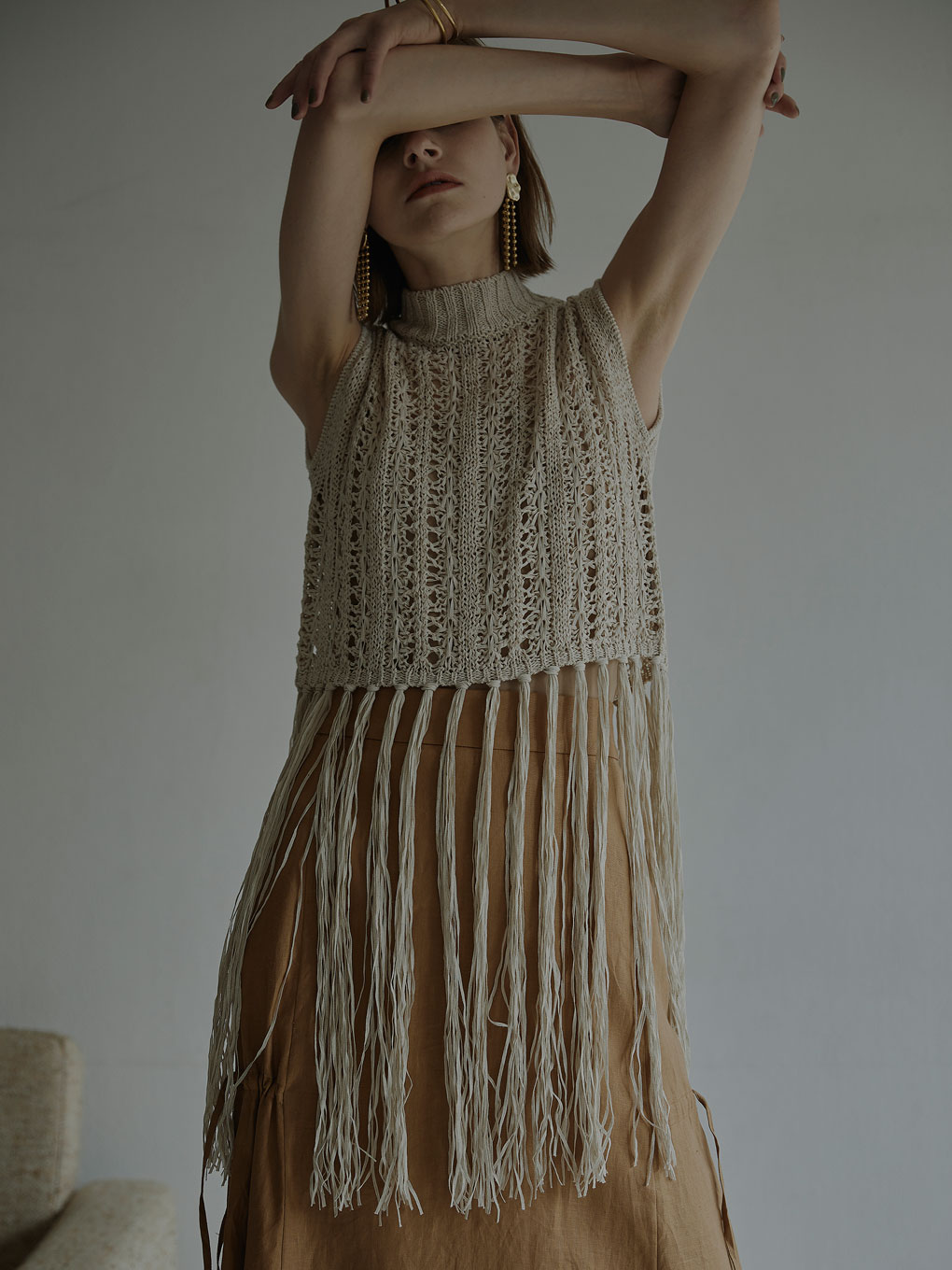 MEDI LONG PASTA FRINGE KNIT