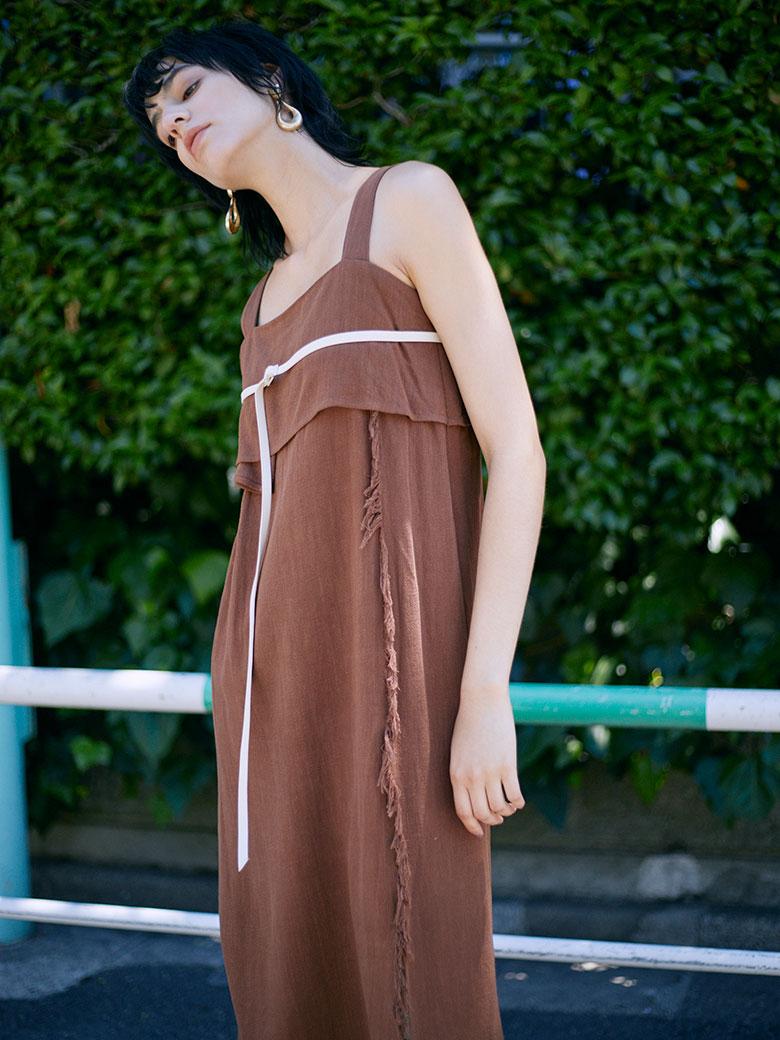 SLENDER BELT FRINGE DRESS