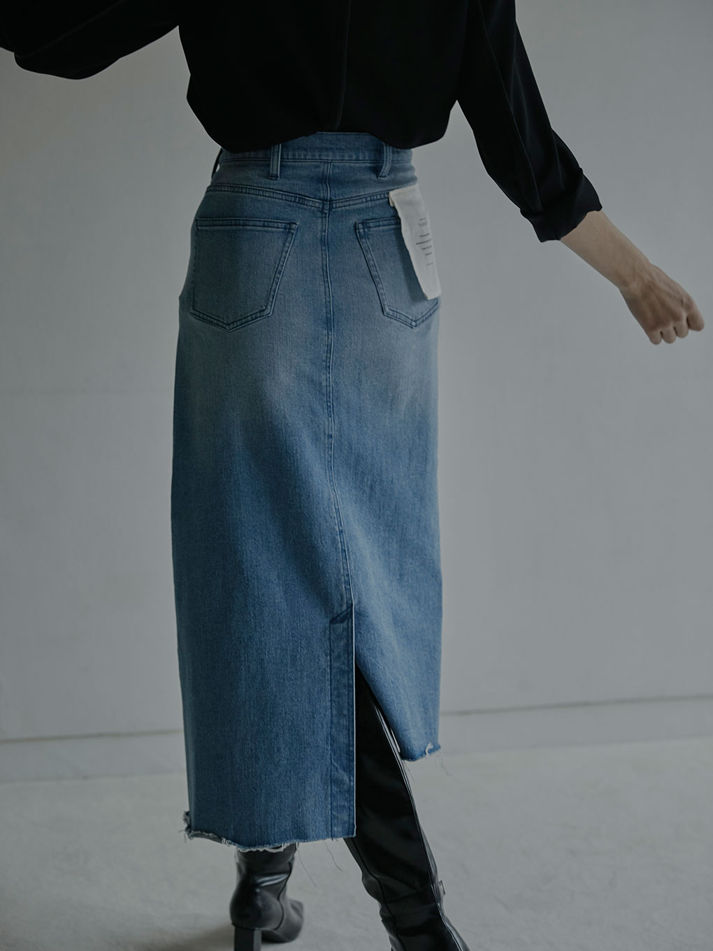 FOLD DENIM SKIRT