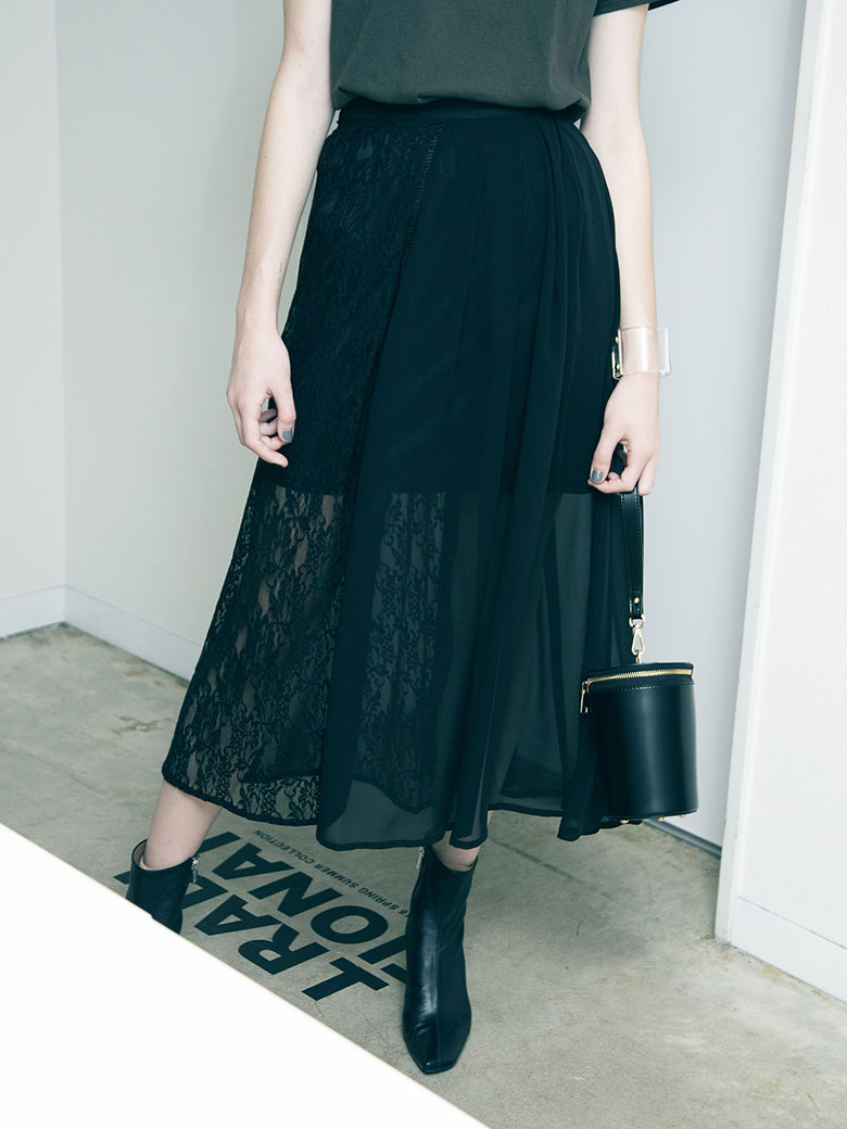 SHEER ASYMMETRY SKIRT