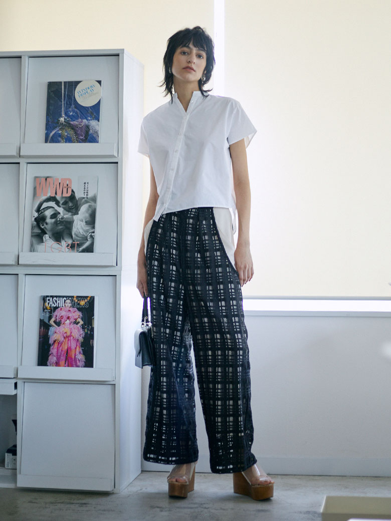 SHEER CHECK LAYERED PANTS