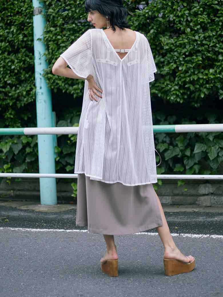 BELTED MESH DRESS