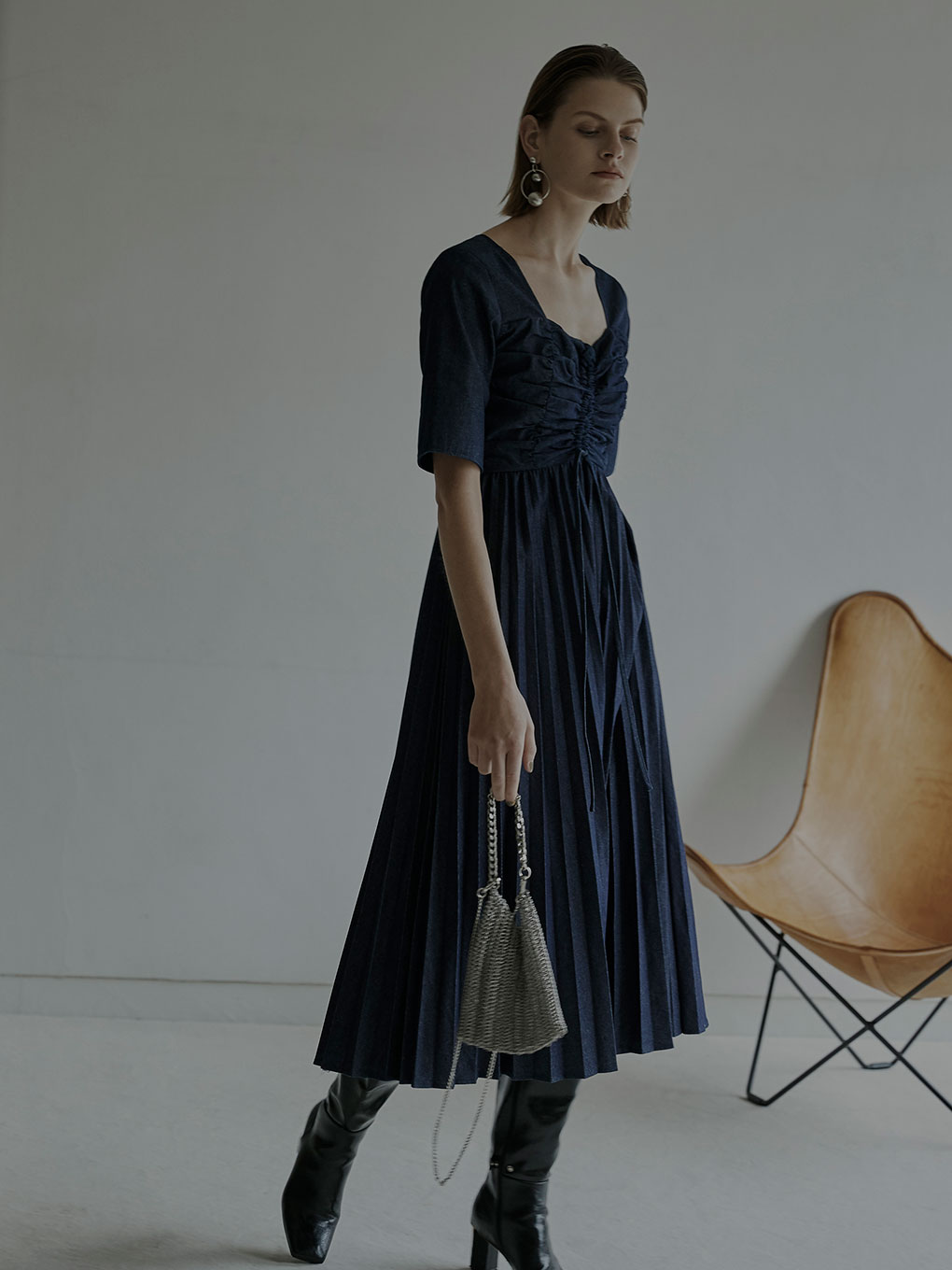 DENIM PLEATS DRESS